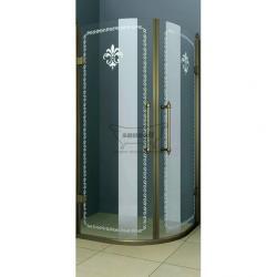 Фото сантехники Retro R2 Душевое ограждение 90х90, профиль бронза, стекло прозрачное с матовым декором