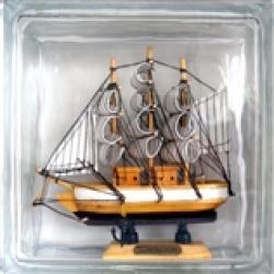 Картинка товара Стеклоблок Эксклюзивный Морская тематика МТ 002А Бесцветный 19х19