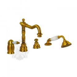 Фото сантехники Oxford Смеситель на борт ванны на 4 отв. монокоман. внеш.(ручка белая) золото (BN.OXF-6355.BI.DO)