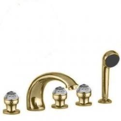 Фото сантехники Axo Swarovski Смеситель для ванны, встраиваемый в борт, на 5 отверстий, цвет золото, ручки Swarovski