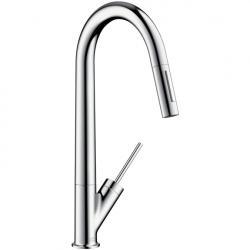 Фото сантехники Starck Смеситель для кухни, однорычажный с выдвижным душем, цвет сталь