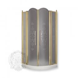 Фото сантехники Diadema Кабина душевая 90см, 2 распашные створки, стекло прозрачн c декором, профиль бронза