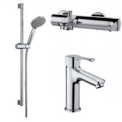 Фото сантехники Tender Сет 3в1 (Смеситель для раковины, ванны и душ.стойка), хром
