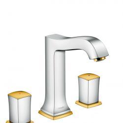 Фото сантехники Metropol Classic Смеситель для раковины на 3 отв., ручки Zero, со сливным гарнитуром, хром/золото