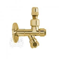 Фото сантехники Ricambi Кран-фильтр 1/2х1/2, с переходником на 3/8 и цангой для жесткой подводки, цвет золото