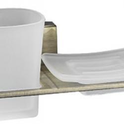 Фото сантехники Exter Держатель стакана и мыльницы, светлая бронза, 19,5см