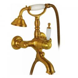 Фото сантехники Oxford Смеситель для ванны/душа монокомандный, внешний, (ручка белая), цв.золото (BN.OXF-6302.BI.D