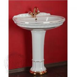 Фото сантехники Gianeta Раковина тюльпана 70 см, декор золотые полоски (DECORO 1), керамика белая