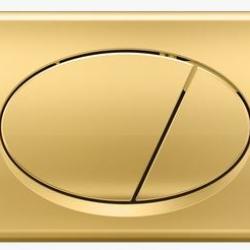 Фото сантехники Кнопка управления, двойной смыв, золото глянец