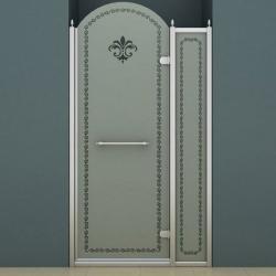 Фото сантехники Retro B11 Душевое ограждение 100х1950, профиль хром, стекло матовое с декором, правостороннее