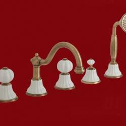 Фото сантехники Olivia Смеситель на борт ванны на 5 отв, золото/без декора золото