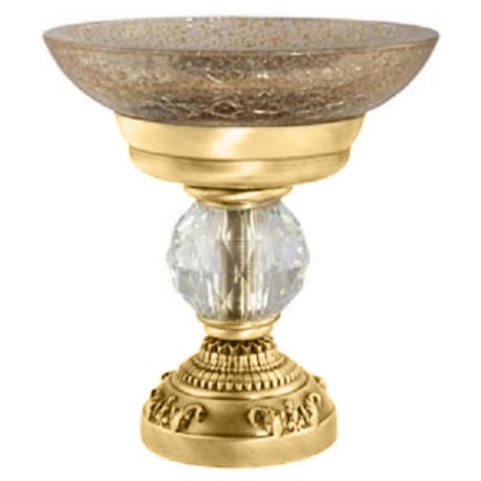 Фото сантехники Cristalia Мыльница  настольная, стекло/золото/Swarovski