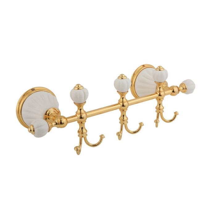 Фото сантехники Olivia Планка с тремя крючками  30 см (с декором), золото