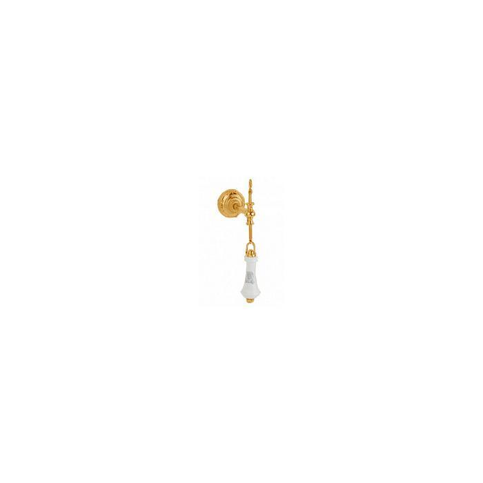 Фото сантехники Ricambi Комплект для высокого бачка (ручка, цепочка, держатель), цвет золото