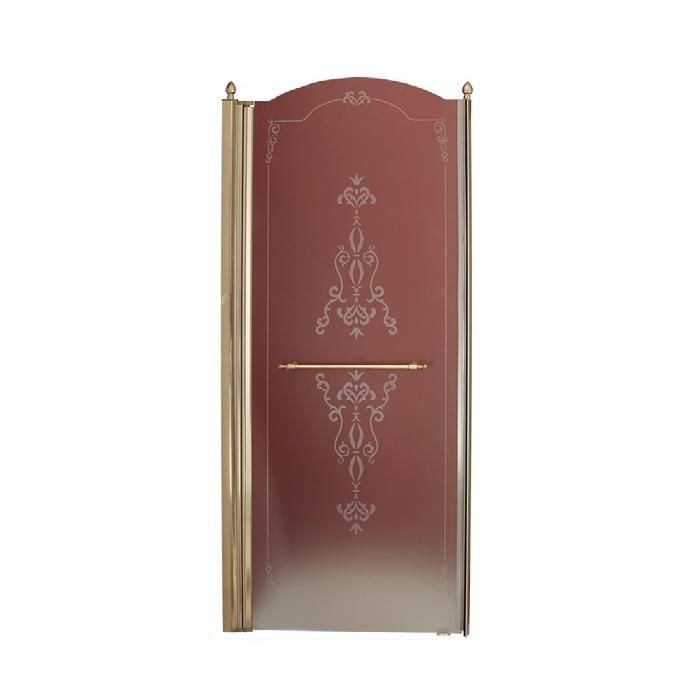 Фото сантехники Diadema Душевая дверь с декором 90см петли слева, стекло матовое, профиль бронза