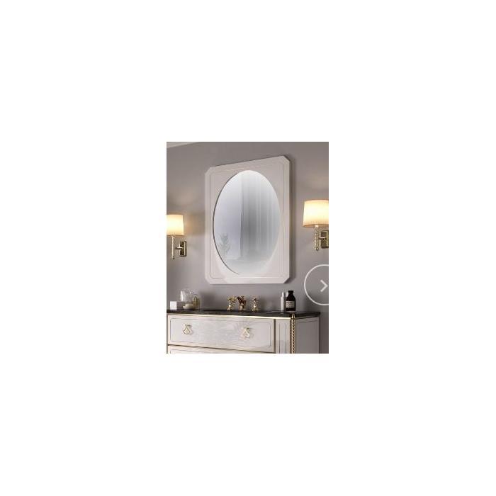 Фото сантехники Petit Зеркало с деревянной рамой,белый глянец,золотой декор