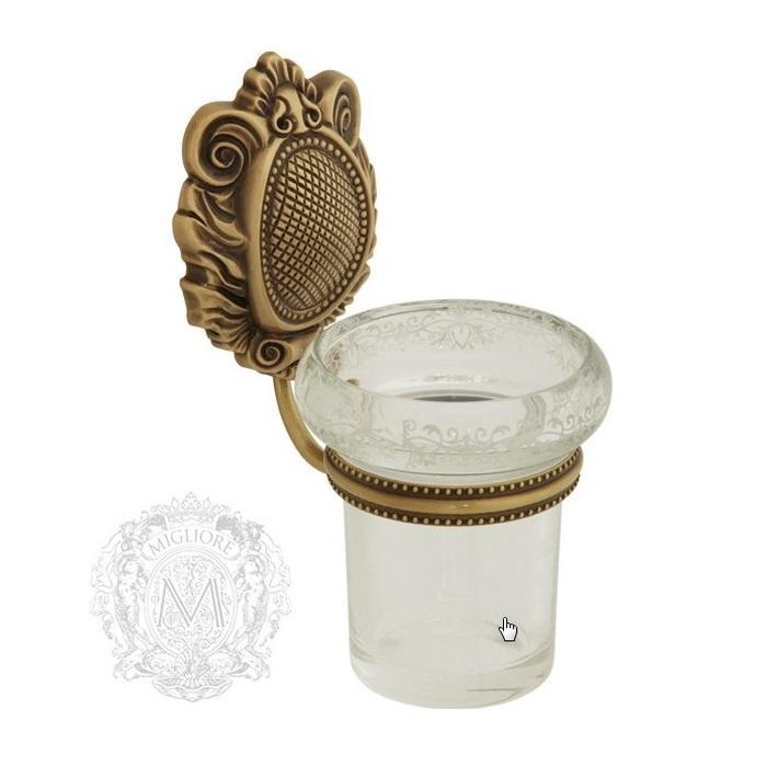 Фото сантехники Cleopatra Стакан настенный,стекло прозрачное с матовым декором, бронза
