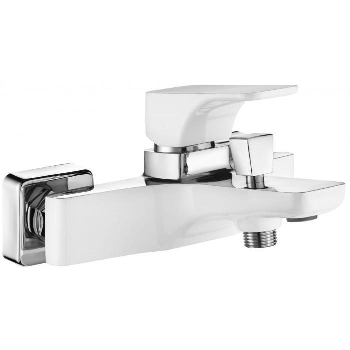 Фото сантехники HIACYNT Смеситель для ванны кор излив цвет белый-хром без душевого набора