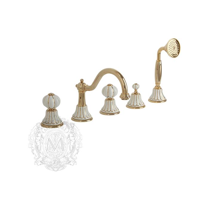 Фото сантехники Olivia Смеситель на борт ванны на 5 отв, золото/декор золото