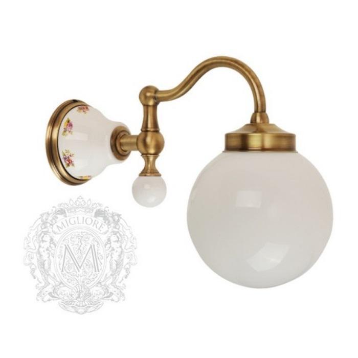 Фото сантехники Provance Светильник настенный, плафон шар стекло матовое/ керамика с декором/бронза