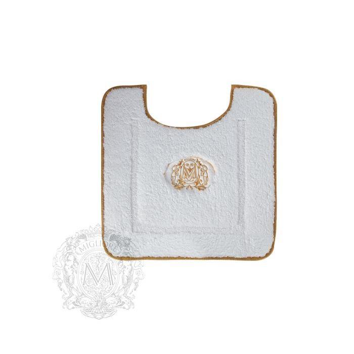 Фото сантехники Коврик для ванной WC комнаты 60х60 см,цвет белый, золотой декор