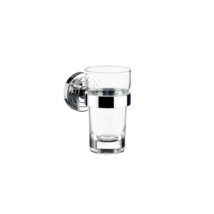 Фото сантехники Polo Стакан для зубных щеток 115х64х98 мм,  стекло, в комплекте с настенным держателем, цвет хром