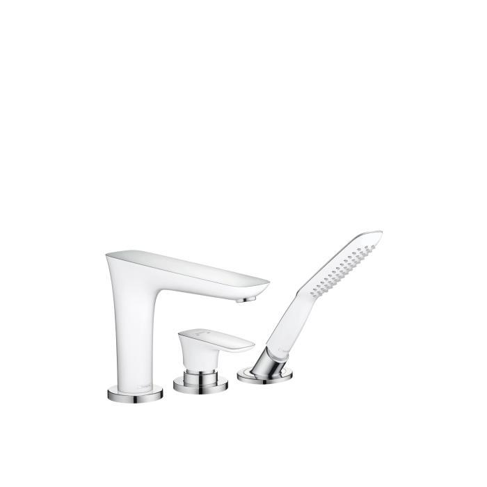 Фото сантехники Pura Vida Смеситель однорычажный на борт ванны на 3 отверстия, цвет белый/хром