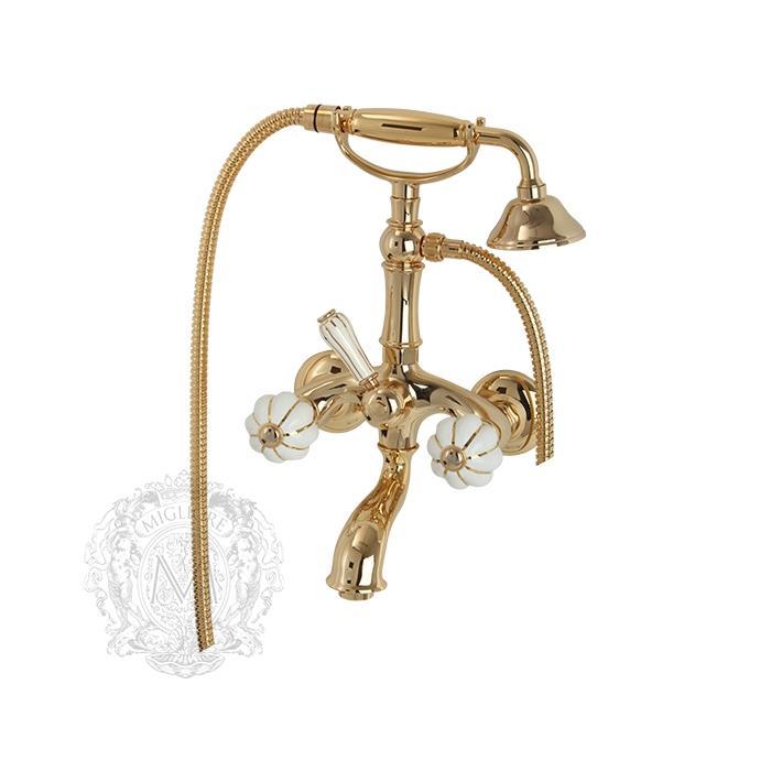 Фото сантехники Olivia Смеситель для ванны внешний белый с золотым декором, золото