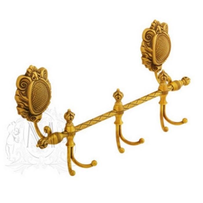 Фото сантехники Cleopatra Планка с 3-мя двойными крючками L40, золото