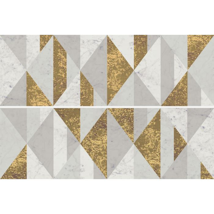 Текстура плитки Шарм Экстра Каррара Вставка Голден Сьют 25x75