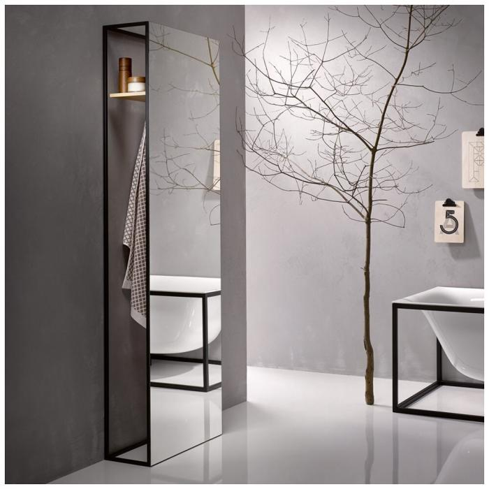 Фото сантехники BetteLux Shape Зеркало напольное 600х244хh1900мм, с полкой и крючком, цвет дуб мокко/черный815