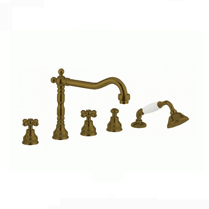 Фото сантехники Princeton Смеситель для ванны встроенный в борт, на 5 отверстий, цвет бронза