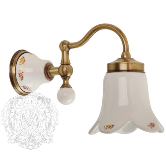 Фото сантехники Provance Светильник настенный, плафон керамика с декором/бронза