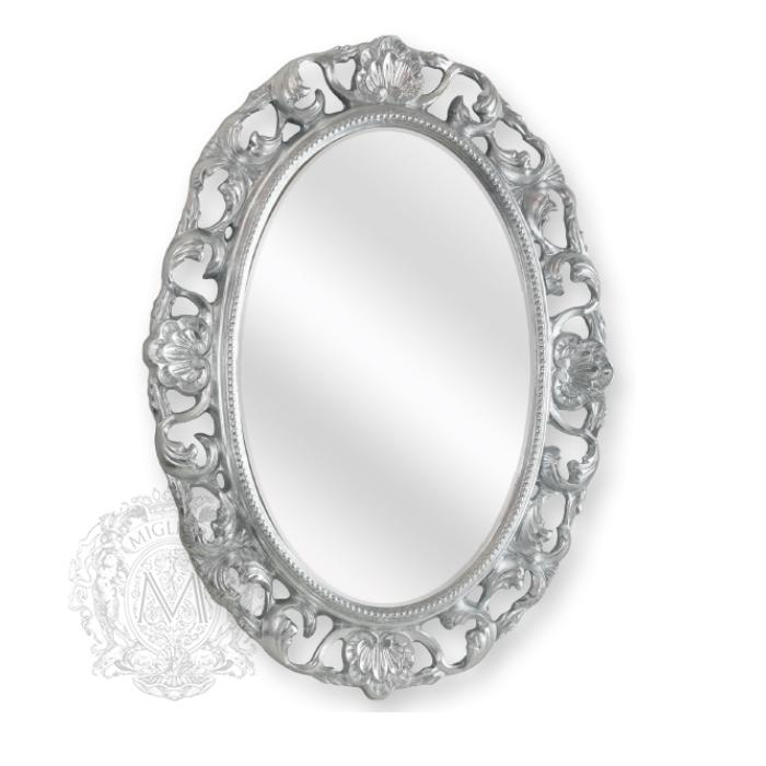 Фото сантехники Зеркало овальное ажурное h80xL58xP4см, цвет серебро