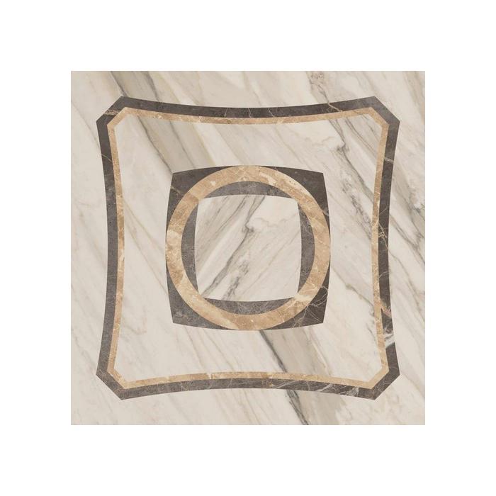 Текстура плитки Портофино Белый Вставка Интарсио Шлиф. Ретт. 45x45