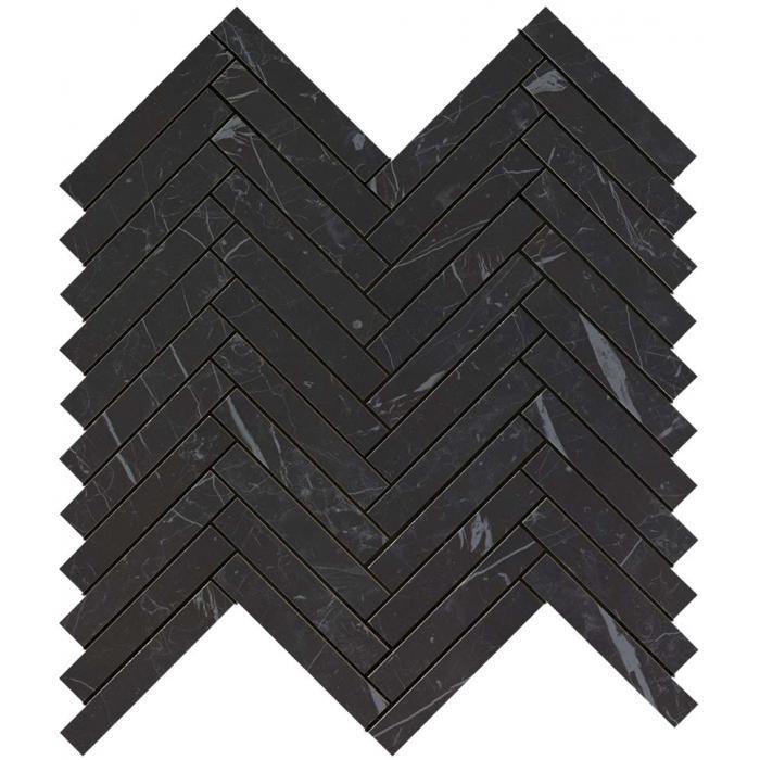 Текстура плитки Marvel Stone Nero Marquina Herringbone Wall (1,7х10,6) 30x30,5