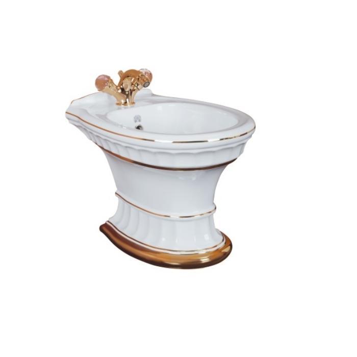 Фото сантехники Gianeta Биде напольное, декор золотые полоски (DECORO 1), керамика белая