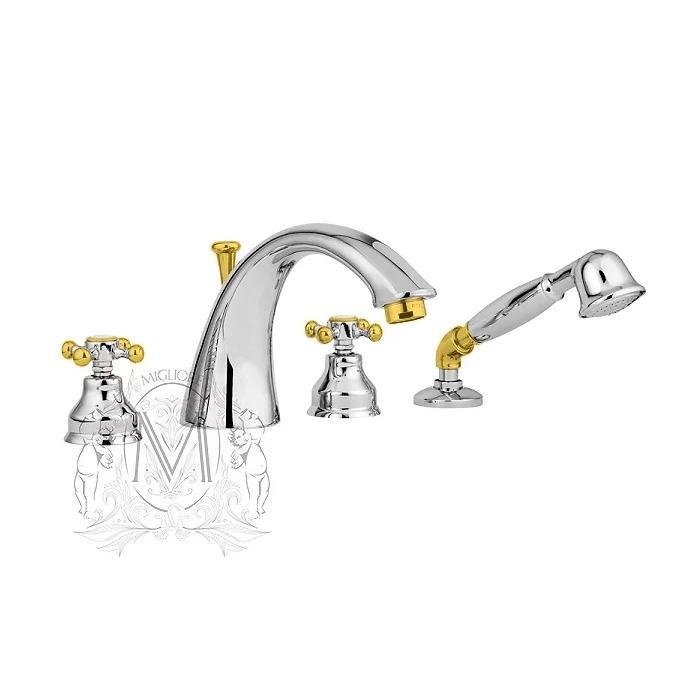 Фото сантехники Lady смеситель на борт ванны, 4 отв., хром/золото