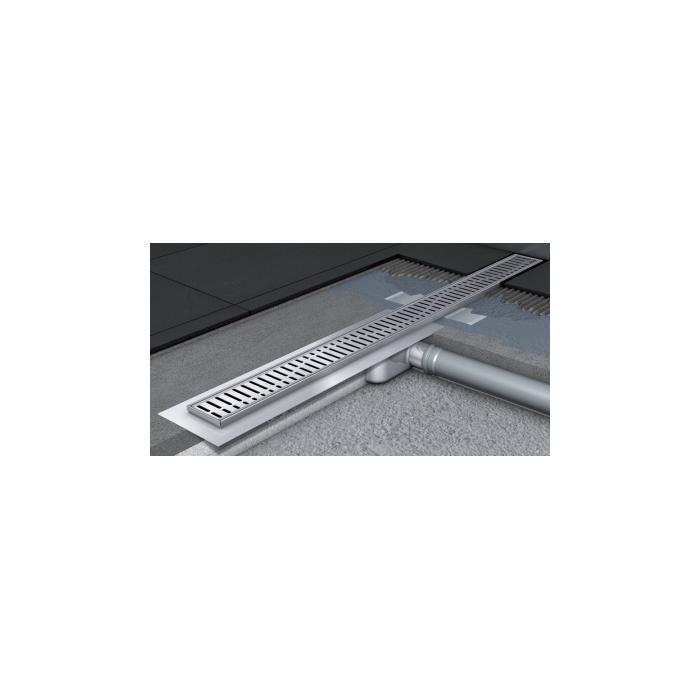 Фото сантехники C-Line Канал для душа L1085мм с фланцем H92 мм под плитку, цвет хром