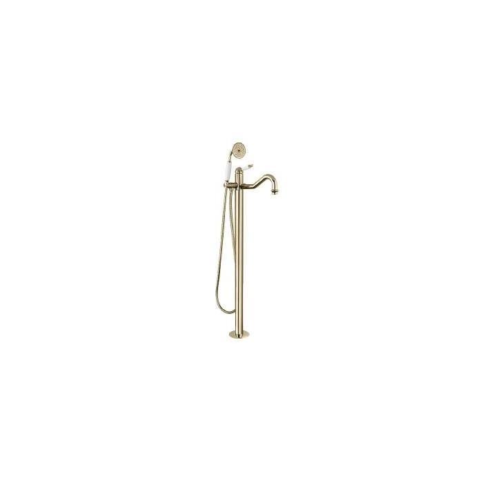 Фото сантехники Oxford Смеситель для ванны напольный, цвет бронза, ручка белая