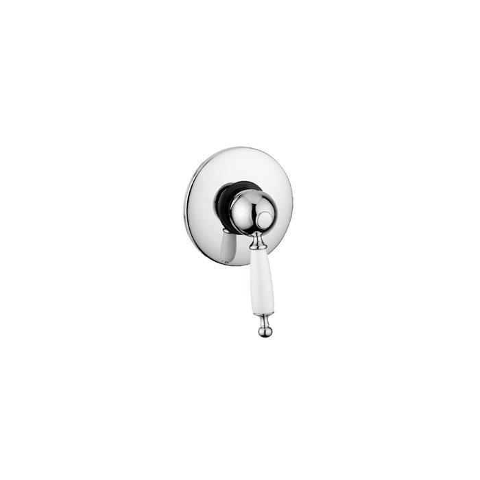 Фото сантехники Oxford Смеситель монокомандный скрытого монтажа, ручка белая, цвет хром - 2
