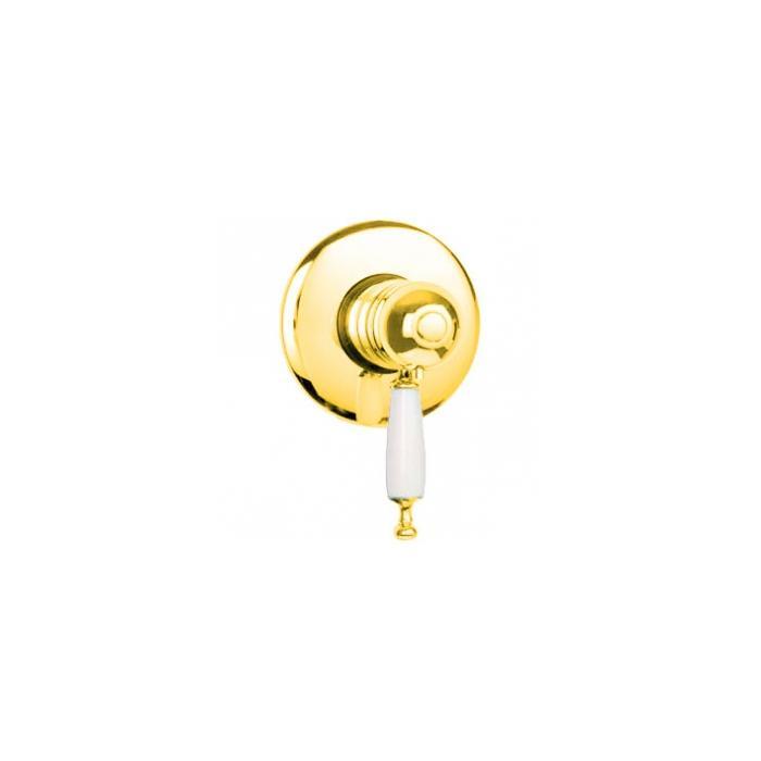 Фото сантехники Oxford Смеситель монокомандный, термостатический, скрытого монтажа, ручка белая, цвет золото