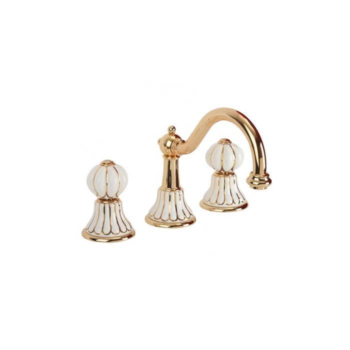 Фото сантехники Olivia Смеситель для раковины на 3 отверстия (с декором), цвет золото