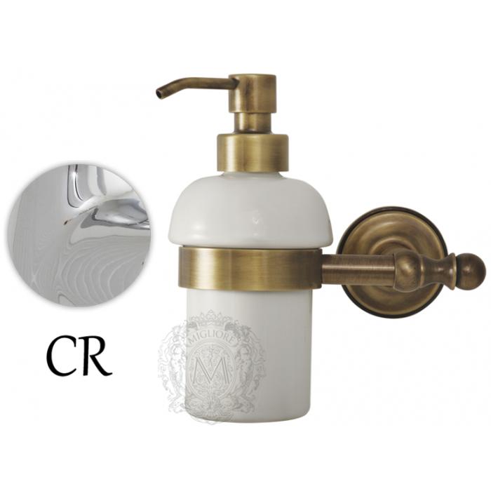 Фото сантехники Mirella Дозатор жидкого мыла настенный, керамика/хром