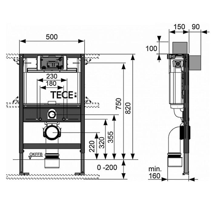 Фото сантехники Модуль для установки унитаза с крепежом, размер 820х500мм