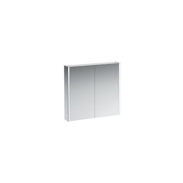 Фото сантехники Frame Зеркало-шкаф 80х75х15см, алюм, двустворч зерк.пов-ть, с розеткой EU и сенсорный переключатель