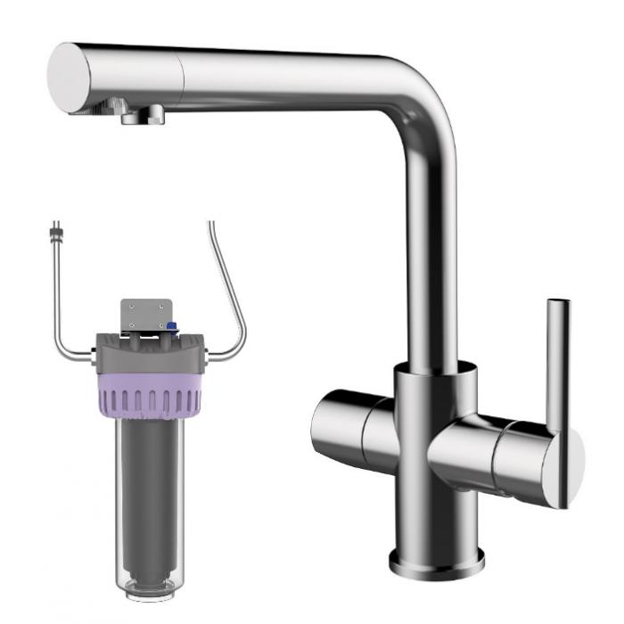Фото сантехники Смеситель для кухонной мойки со встроенным краном питьевой воды, с фильтром на 2800л, хром