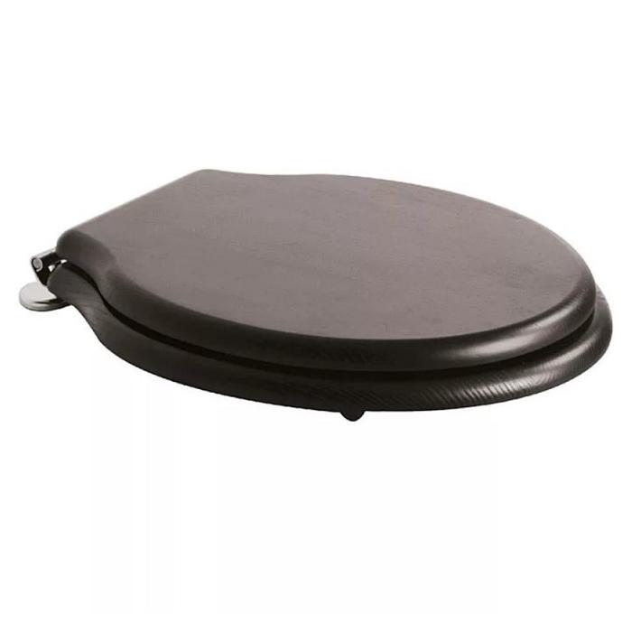 Фото сантехники Paestum Крышка для унитаза, черная, петли хром