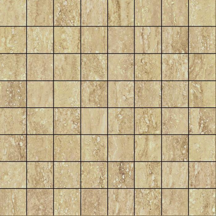 Текстура плитки Травертино Романо Мозаика Люкс 29.2x29.2