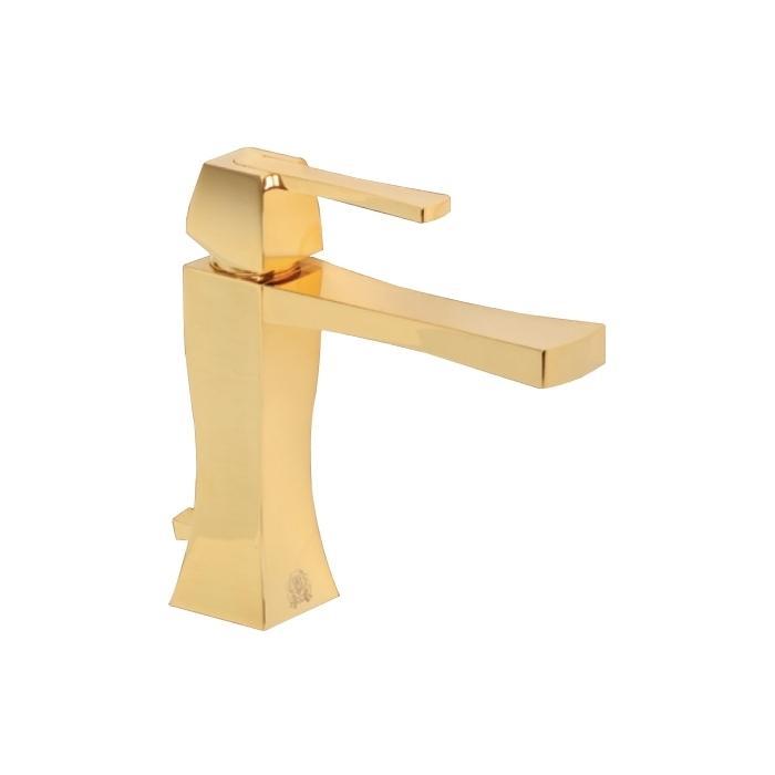 Фото сантехники Смеситель для раковины монокомандный с донным клапаном, цвет золото